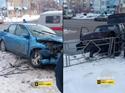 Появилось видео столкновения Форд иВАЗа вцентре Кемерова