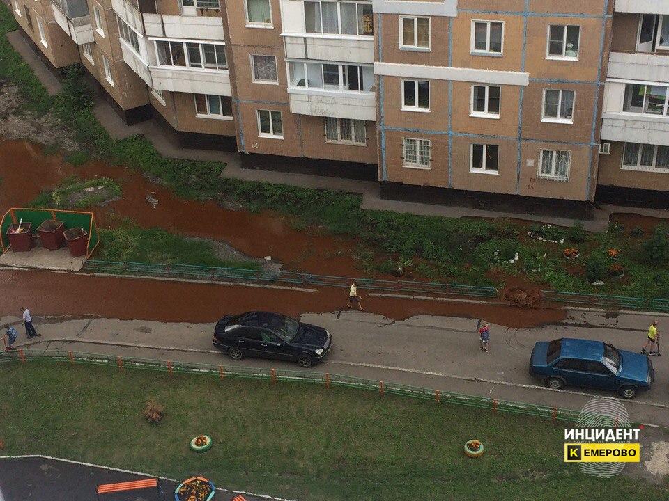Ржавой водой из колодца затопило один из дворов Кемерова