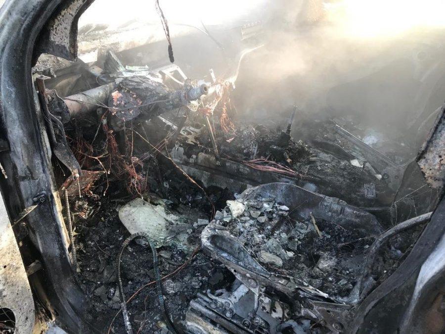 На парковке в Новокузнецке сгорел инкассаторский автомобиль